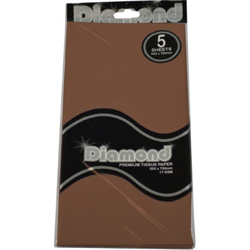 Choc Brown Tissue Paper - 500 x 750mm (5 Sheets) - WAS $2.35 NOW $1.20 - Discontinued