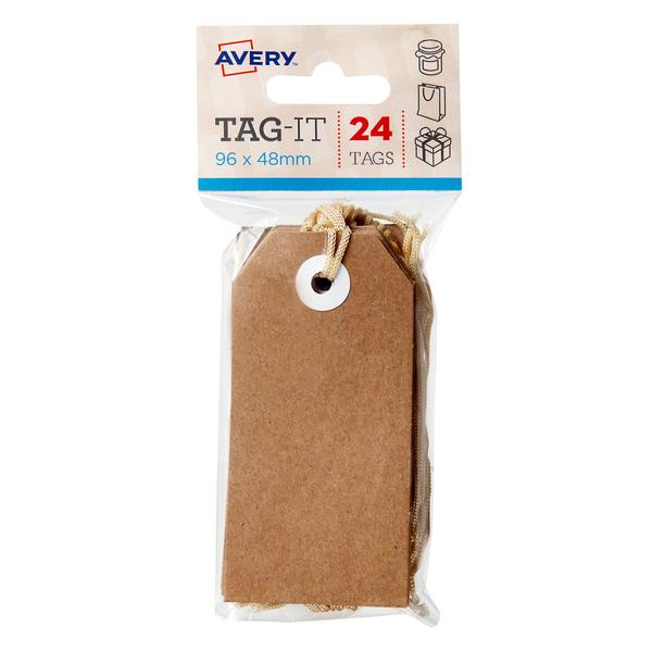 TEMP OUT OF STOCK JANUARY 2017 -Kraft Brown Tag-it with String, 24/Pack, 96 x 48mm