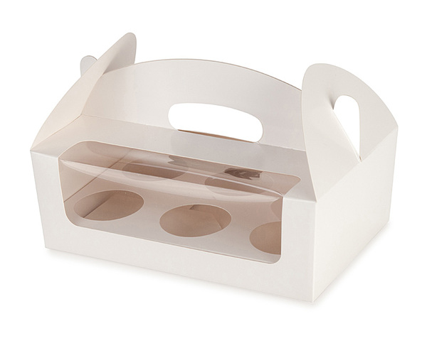 Carry Cupcake Boxes - 6 Cupcakes - White