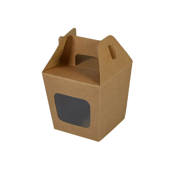 Party Boxes with Window Corf 1 - Kraft Brown