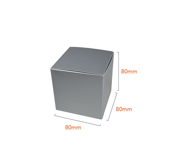 One Piece Cube Box 80mm - Gloss Silver