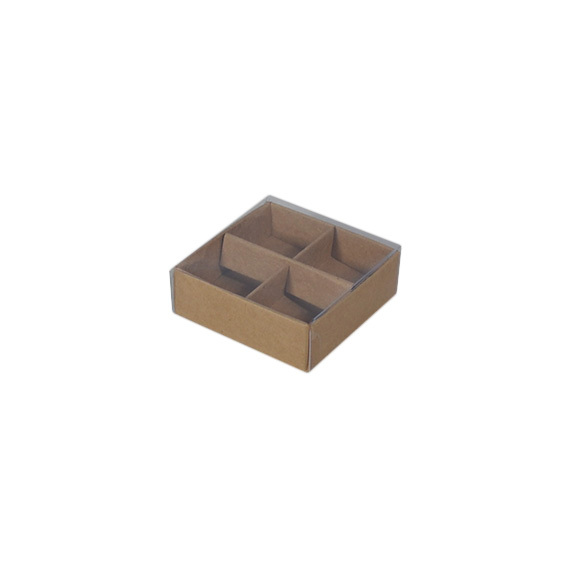 4 Pack Chocolate Box with Clear Lid & Insert - Craft Brown