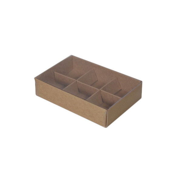 6 Pack Chocolate Box with Clear Lid & Insert - Craft Brown