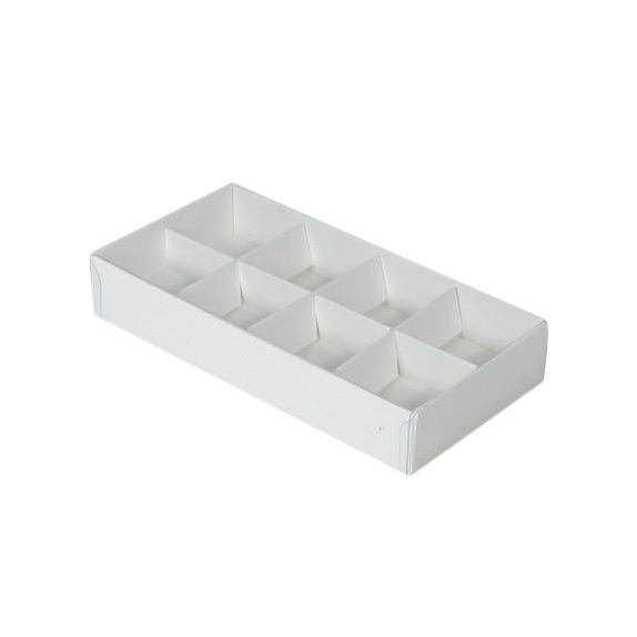 8 Pack Chocolate Box with Clear Lid & Insert - Smooth White