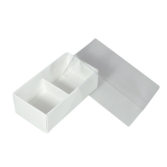 2 Pack Chocolate Box with Clear Lid & Insert - Smooth White