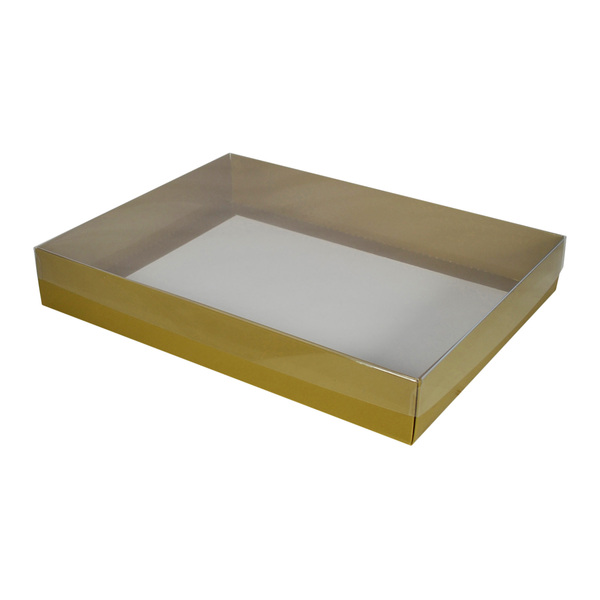 Slim Line A4 Gift Box - Gloss Gold with Clear Lid