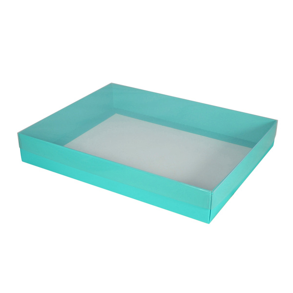 Slim Line A4 Gift Box - Matt Blue with Clear Lid