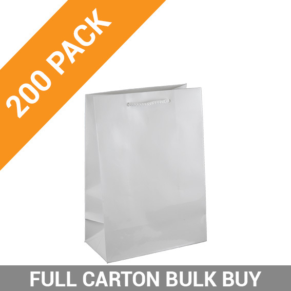 Gloss White Paper Gift Bag Small - 200PK
