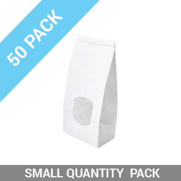 50PK Retail Small Window Bag White Tin Tie