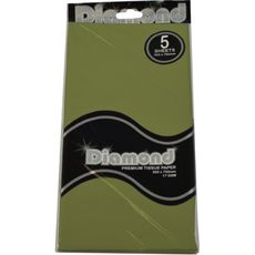 Olive Tissue Paper - 500 x 750mm (5 Sheets) - WAS $2.35 NOW $1.20 - Discontinued