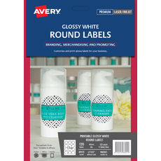 Glossy White Round Labels, L7105, 120/Pack, 60 mm diameter