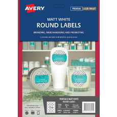 White Round Removable Product Labels, L7104REV, 120/Pack, 60 mm diameter