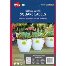 Glossy White Square Product Labels, L7119, 350/Pack, 35 x 35 mm