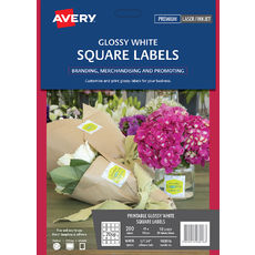 Glossy White Square Product Labels, L7124, 200/Pack, 45 x 45 mm
