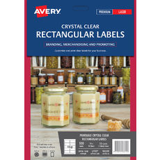 Crystal Clear Rectangular Product Labels, L7113, 100/Pack, 96 x 50.8 mm
