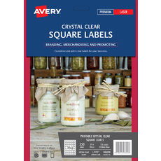 Crystal Clear Square Product Labels, L7125, 350/Pack, 35 x 35 mm
