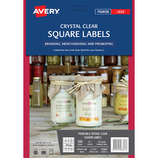 Crystal Clear Square Product Labels, L7126, 200/Pack, 45 x 45 mm