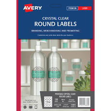 Crystal Clear Round Product Labels, L7114, 120/Pack, 60 diameter