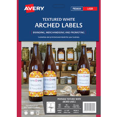 Textured White Arched Product Labels, L7128, 40/Pack, 89 x 120.7 mm