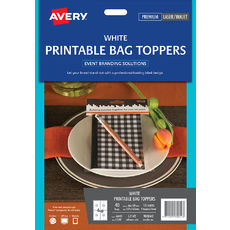 White Printable Bag Toppers with Bags, L7112, 40/Pack, 48 x 137 mm
