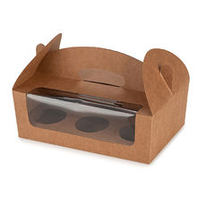 Carry Cupcake Boxes - 6 Cupcakes - Kraft Brown