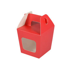 Party Boxes with Window Corf 1 - Red Matt