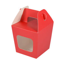 Party Boxes with Window Corf 2 - Red Matt