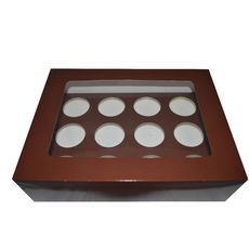 12 Cupcake Box - Gloss Choc Brown