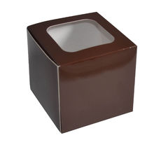 1 Cupcake Box - Gloss Choc Brown