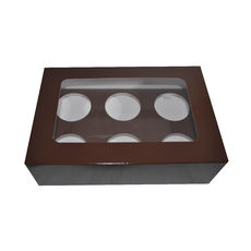6 Cupcake Box - Gloss Choc Brown