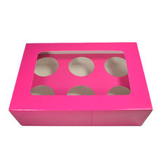 6 Cupcake Box - Gloss Hot Pink