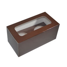 2 Cupcake Box - Gloss Choc Brown