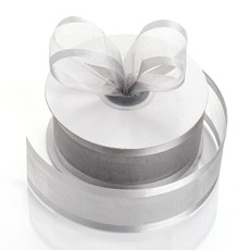 Satin Edge Organza Ribbon 38mm x 22metres - Silver Gift Wrapping & Decoration