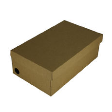 One Piece Shoe Box with Ventilation Pull Hole Kraft Brown