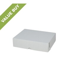 Budget Cake Box 10 x 8 x 2.5 inches - Kraft White Outside/ Brown Inside