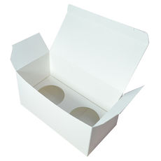 Double Cupcake Box - Smooth White with removable insert