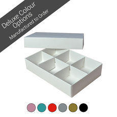 6 Macaroon & Choc Box with removable insert - Assorted Colours (Minimum Order 100 units) (Macaroon lies flat)