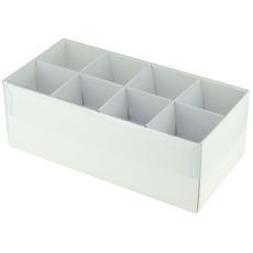 16 Pack Chocolate Box with Clear Lid & Insert - Smooth White