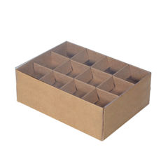 24 Pack Chocolate Box with Clear Lid & Insert - Craft Brown