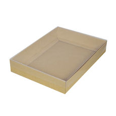 A4 Cardboard Gift Box - Brown 50mm High with Clear Lid
