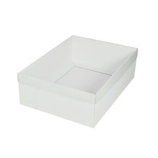 A4 Cardboard Gift Box - White 100mm High with Clear Lid