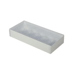 10 Pack Chocolate Box with Clear Lid and Plastic Insert- Smooth White