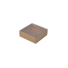 Square 82mm Gift Box with Clear Lid - Craft Brown