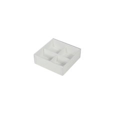 4 Pack Chocolate Box with Clear Lid & Insert - Smooth White
