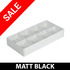 SALE - 14 x 8 Pack Chocolate Box Base & Clear Lid - Matt Black