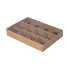 12 Pack Chocolate Box with Clear Lid & Insert - Craft Brown