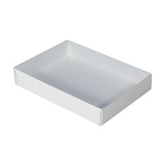 Rectangle 12 Gift Box with Clear Lid - Smooth White