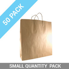 50 PACK - Brown Kraft Paper Gift Bag Large