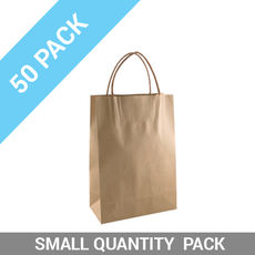 50 PACK - Brown Kraft Paper Gift Bag Junior