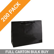 Gloss Black Paper Bag Small Boutique - 200PK